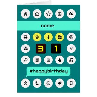 第31誕生日の計算の名前をカスタムする カード