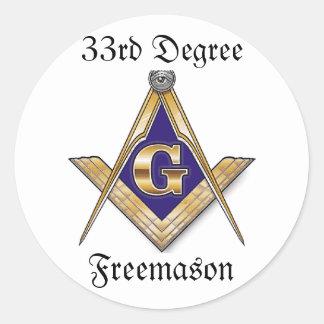 第33程度のフリーメーソン会員のステッカー ラウンドシール