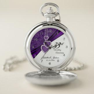 第33紫色の結婚記念日のデザイン ポケットウォッチ