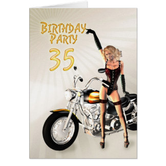 第35女の子およびモーターバイクを持つ誕生会 カード
