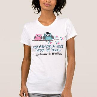 第35結婚記念日のフクロウのTシャツのためのギフト Tシャツ