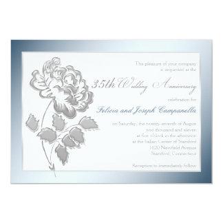 第35記念日の白、銀製のシャクヤクの招待 カード