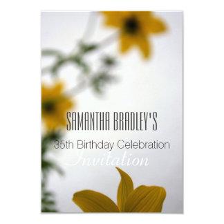第35誕生祝いの花柄の招待状 カード
