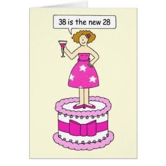 第38誕生日の年齢のユーモア、巨大なケーキの女性 カード