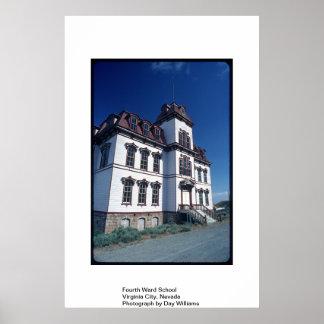 第4区の学校、Virginia City、ネバダ ポスター