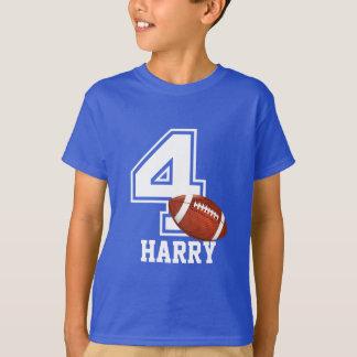 第4名前入りな2誕生日の男の子のフットボール Tシャツ