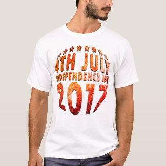 第4影が付いている7月及び独立記念日の円 Tシャツ