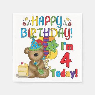 第4誕生日のテディー・ベアの誕生日の紙ナプキン スタンダードカクテルナプキン