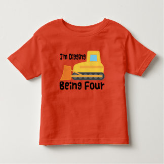 第4誕生日のブルドーザーの建築のトラックの幼児 トドラーTシャツ