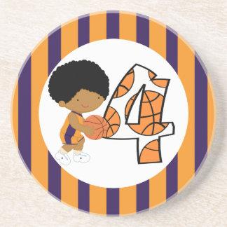 第4誕生日の紫色及びオレンジバスケットボール選手v2 コースター