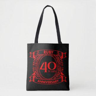 第40結婚記念日のルビーの頂上 トートバッグ
