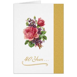 第40結婚記念日のロマンチックなピンクのバラ グリーティングカード