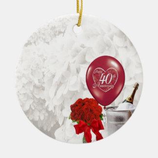 第40結婚記念日 セラミックオーナメント