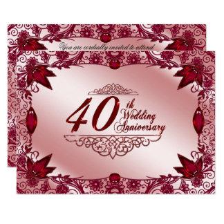 第40結婚記念日RSVP 8.9 X 12.7 インビテーションカード
