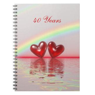 第40記念日のルビーのハート ノートブック