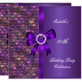 第40誕生会のスパンコールのピンクの紫色のダイヤモンド カード
