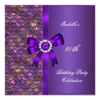 第40誕生会のスパンコールのピンクの紫色のダイヤモンド 13.3 スクエアインビテーションカード