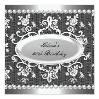 第40誕生会の白黒のダマスク織の真珠 カード