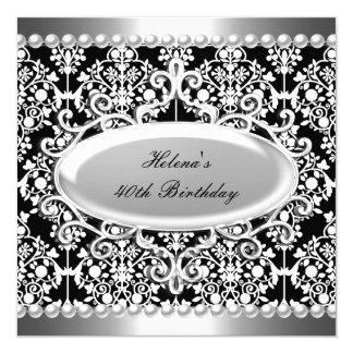 第40誕生会の白黒のダマスク織の花柄 カード