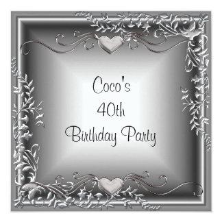 第40誕生会の黒の銀の花柄 カード