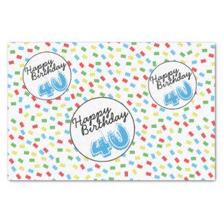 第40誕生日のお祝いのカラフルなギフト用包装紙の供給 薄葉紙