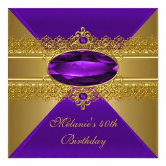 第40誕生日のエレガントなレースの紫色の金ゴールド カード