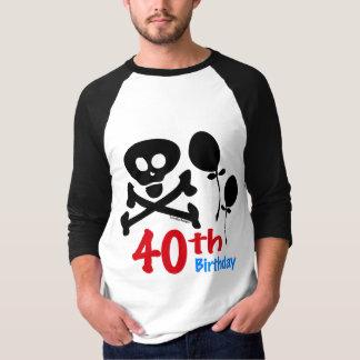 第40誕生日のスカルの骨が交差した図形 Tシャツ