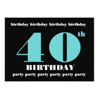 第40誕生日のパーティの招待状のテンプレート カード