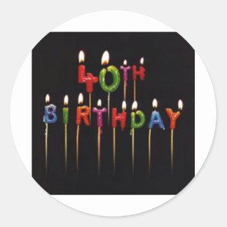 第40誕生日の蝋燭 ラウンドシール