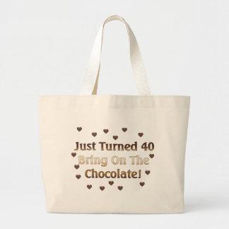 第40誕生日はチョコレートを意味します ラージトートバッグ