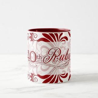 第40赤のルビー色記念日は白で渦巻きます ツートーンマグカップ