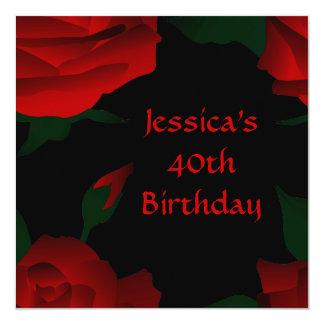 第40黒の誕生日の赤いバラ カード