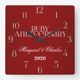 第40 Annivsersaryのルビー色の結婚のカスタム スクエア壁時計