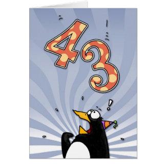 第43誕生日-ペンギンの驚きカード カード