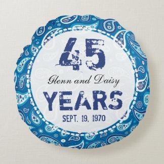 第45サファイアの結婚記念日のペイズリーパターン ラウンドクッション