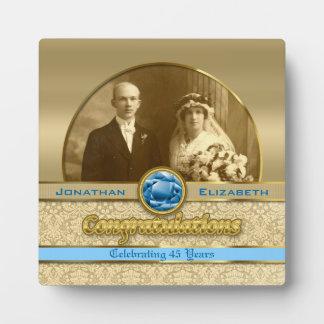 第45サファイアの結婚記念日の宝石のダマスク織の写真 フォトプラーク