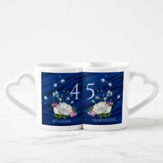 第45結婚記念日のサファイアのカスタム ペアカップ