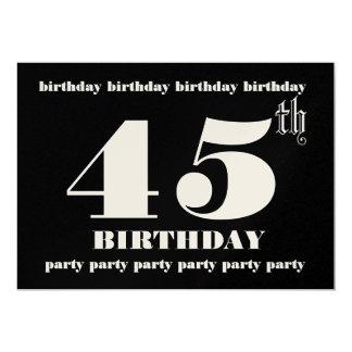 第45誕生日のパーティの招待状のテンプレート カード