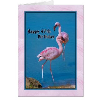 第47ピンクのフラミンゴが付いているバースデー・カード カード
