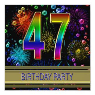 第47泡を持つ誕生日のパーティの招待状 カード