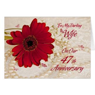 第47結婚記念日の妻、デイジーの花 カード