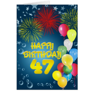 第47花火および気球が付いているバースデー・カード カード