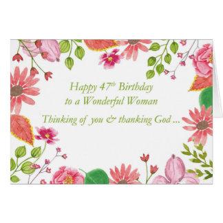 第47誕生日のすばらしい女性の水彩画によってはRが開花します カード
