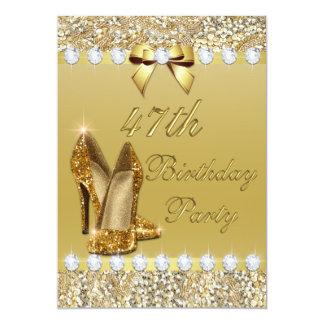 第47誕生日の上品な金ゴールドのかかとのスパンコールのダイヤモンド カード