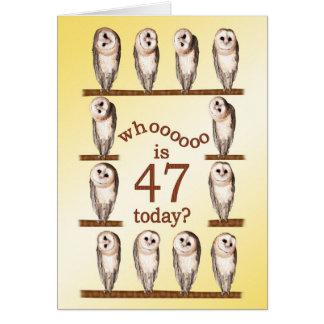 第47誕生日、好奇心が強いフクロウカード カード