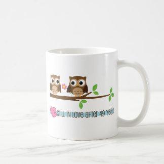 第49結婚記念日のフクロウ コーヒーマグカップ