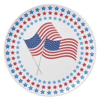 第4 7月のお祝い米国の旗のメラミンプレートの プレート