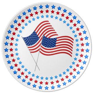 第4 7月のお祝い米国の旗の磁器皿の 磁器プレート
