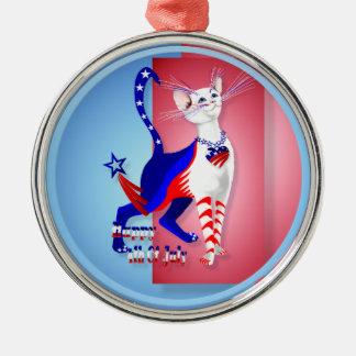 第4 7月のアメリカの子猫のオーナメントの メタルオーナメント