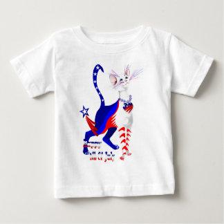 第4 7月のアメリカの子猫のワイシャツの ベビーTシャツ